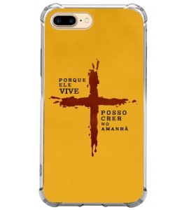 Capinha de celular (tpu premium) - GOSPEL 177 - Porque ele vive. Posso crer no amanhã