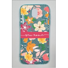 Capinha para celular Glitter Azul Florais 10