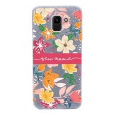 Capinha para celular Glitter Prateada Florais 10