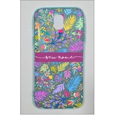 Capinha para celular Glitter Azul Florais 9