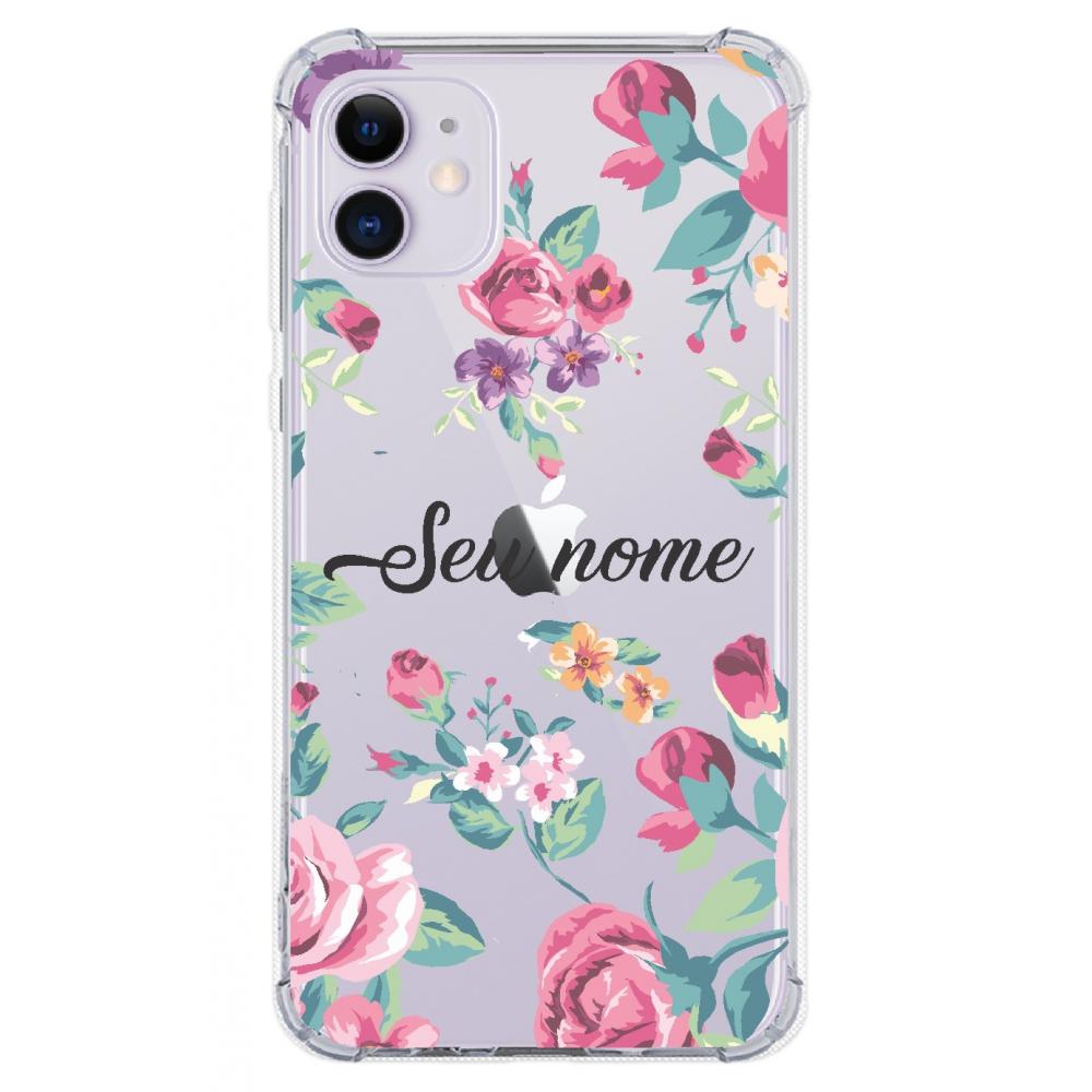 Capinha para celular - Personalizada com nome - Flores 03