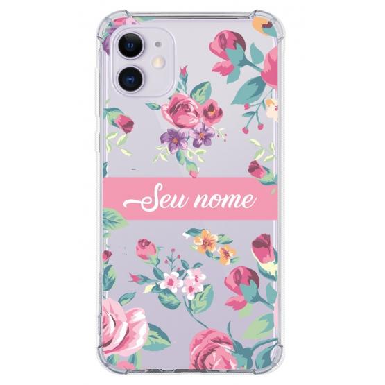 Capinha para celular - Personalizada com nome - Flores 06