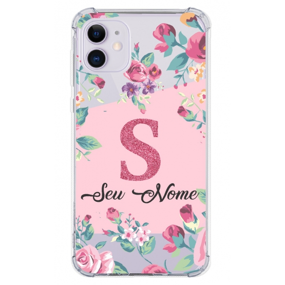 Capinha para celular - Personalizada com nome - Flores 09