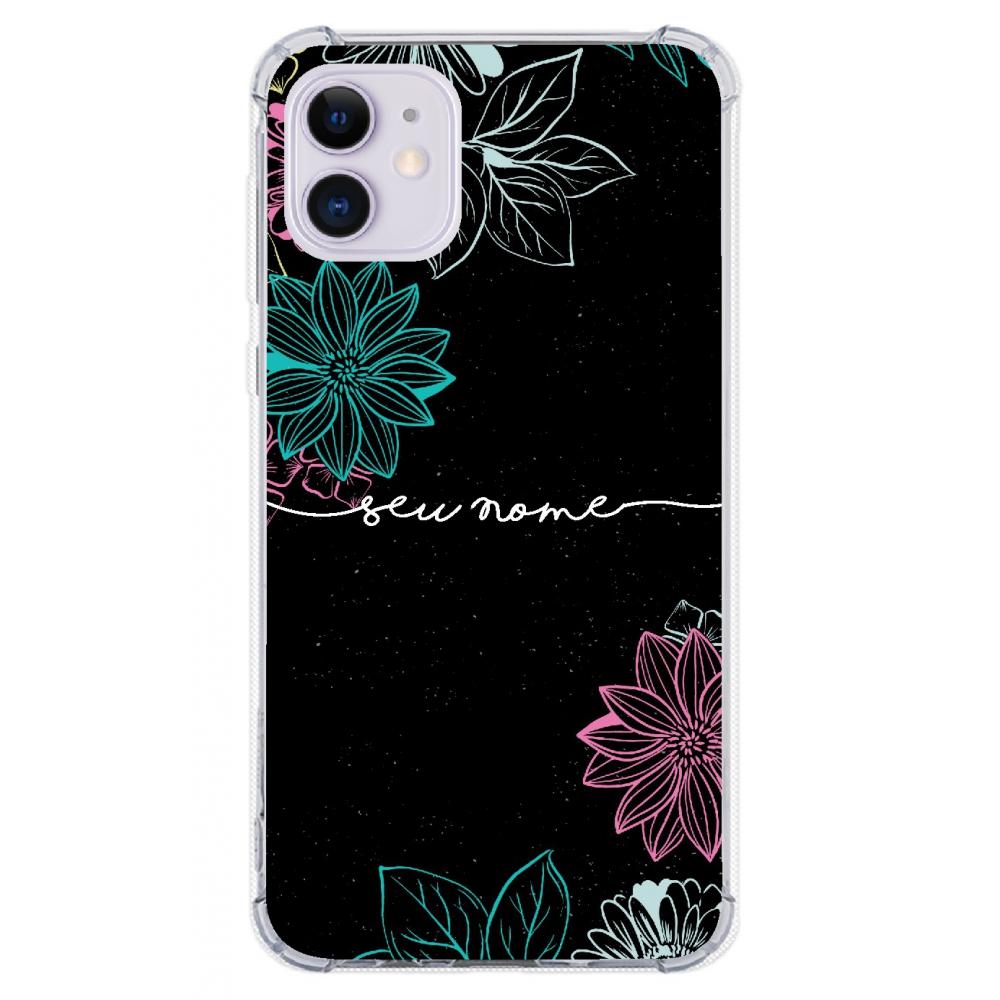 Capinha para celular - Personalizada com nome - Flores 25