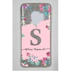 Capinha para celular Glitter Prateada Flores 11