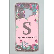 Capinha para celular Glitter Rosa Flores 11