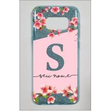 Capinha para celular Glitter Azul Flores 12