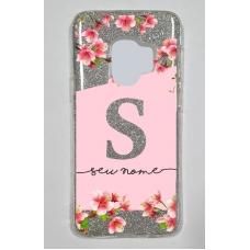 Capinha para celular Glitter Prateada Flores 12
