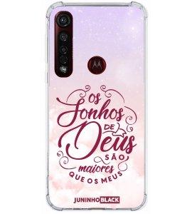 Capinha de celular (tpu premium) - JUNINHO BLACK 03 - OS SONHOS DE DEUS SÃO MAIORES QUE OS MEUS