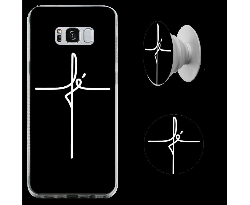 Kit capinha para celular (tpu premium) + Pop - Gospel 184 - Fé