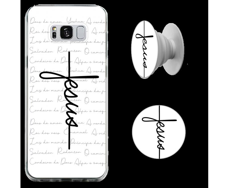 Kit capinha de celular (tpu premium) + Pop - Cruz Jesus - GOSPEL 187