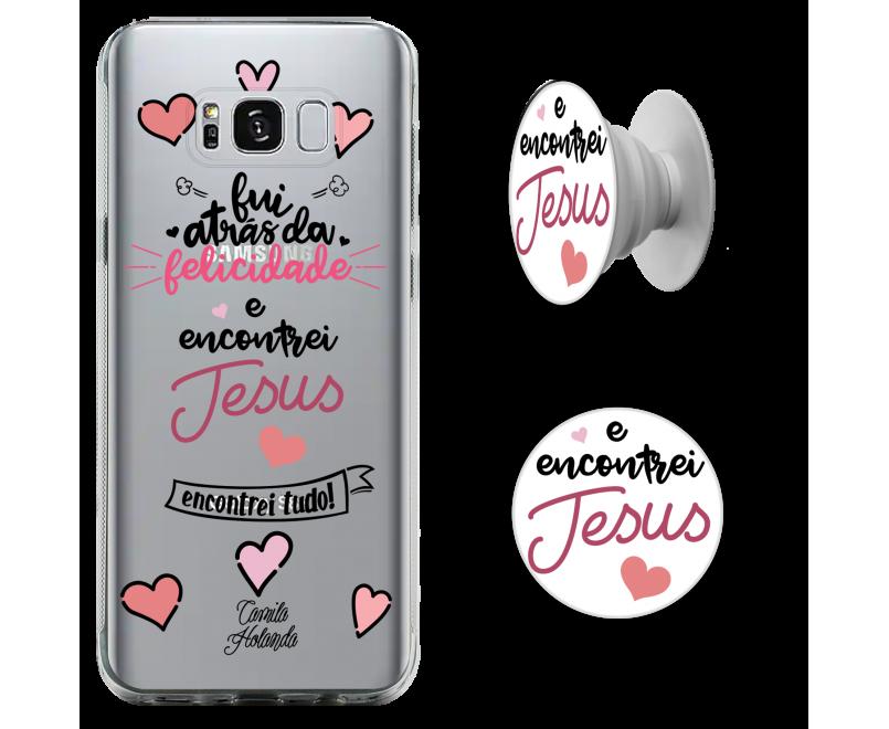 Kit capinha de celular (tpu premium)+ Pop - CH 11 - Encontrei Jesus