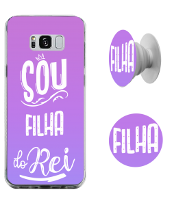 Kit capinha de celular (tpu premium) + Pop - Esther Marcos 09 - Sou filha do Rei