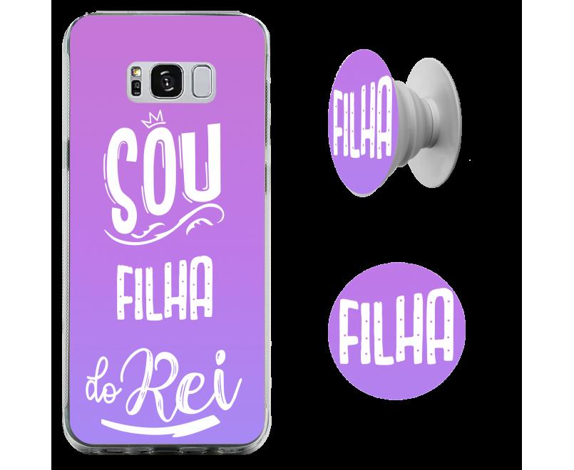 Kit capinha de celular (tpu premium) + Pop - Esther Marcos 09 - Sou filha do Rei