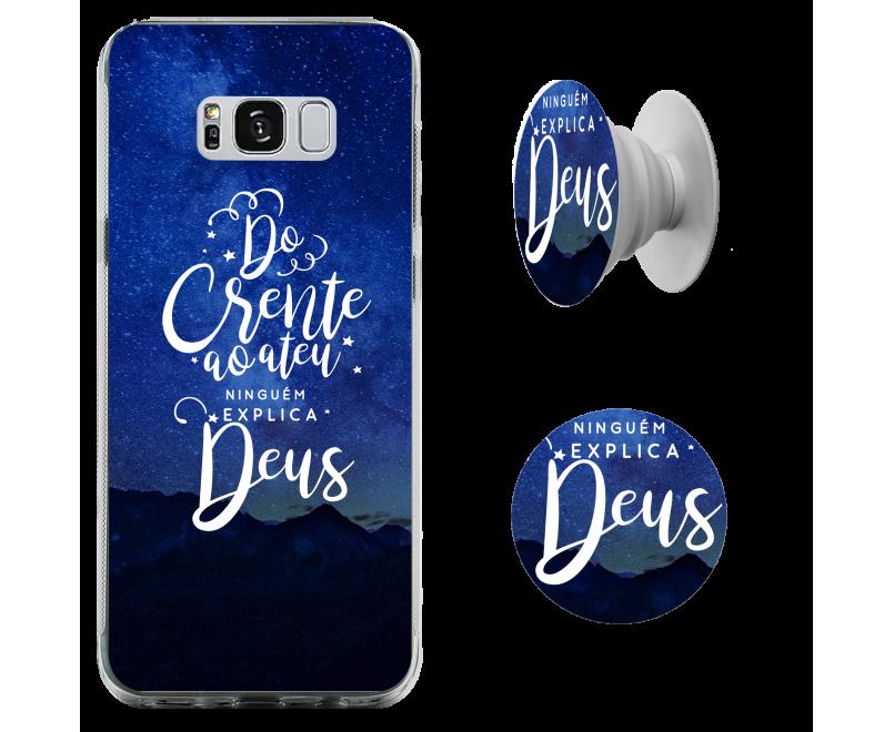 Kit capinha para celular (tpu premium) + Pop - GOSPEL 130 - Ninguem explica Deus