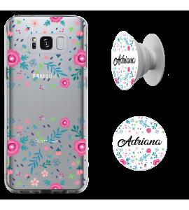 Kit capinha de celular (tpu premium) + Pop - Flores 1 - Pop Manuscrito com seu Nome