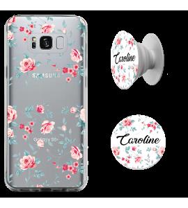 Kit capinha de celular (tpu premium) + Pop - Flores 2 - Pop Manuscrito com seu Nome
