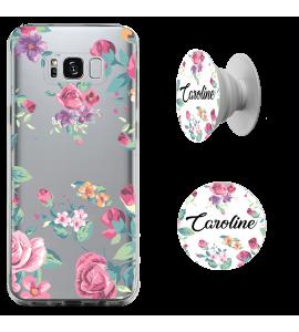 Kit capinha de celular (tpu premium) + Pop - Flores 3 - Pop Manuscrito com seu Nome