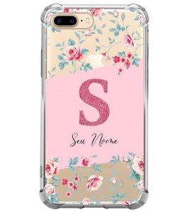 Capinha de celular - Personalizada com seu nome e letra inicial - Flores 01