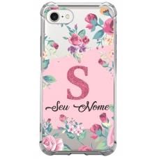 Capinha para celular - Personalizada com Nome e Letra inicial - Flores 09