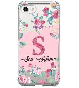 Capinha de celular - Personalizada com seu nome e letra inicial - Flores 03