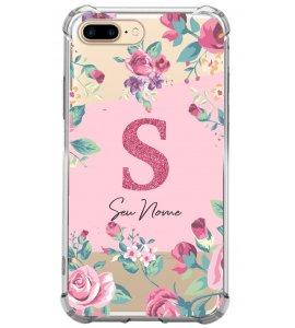 Capinha de celular - Personalizada com seu nome e letra inicial - Flores 07