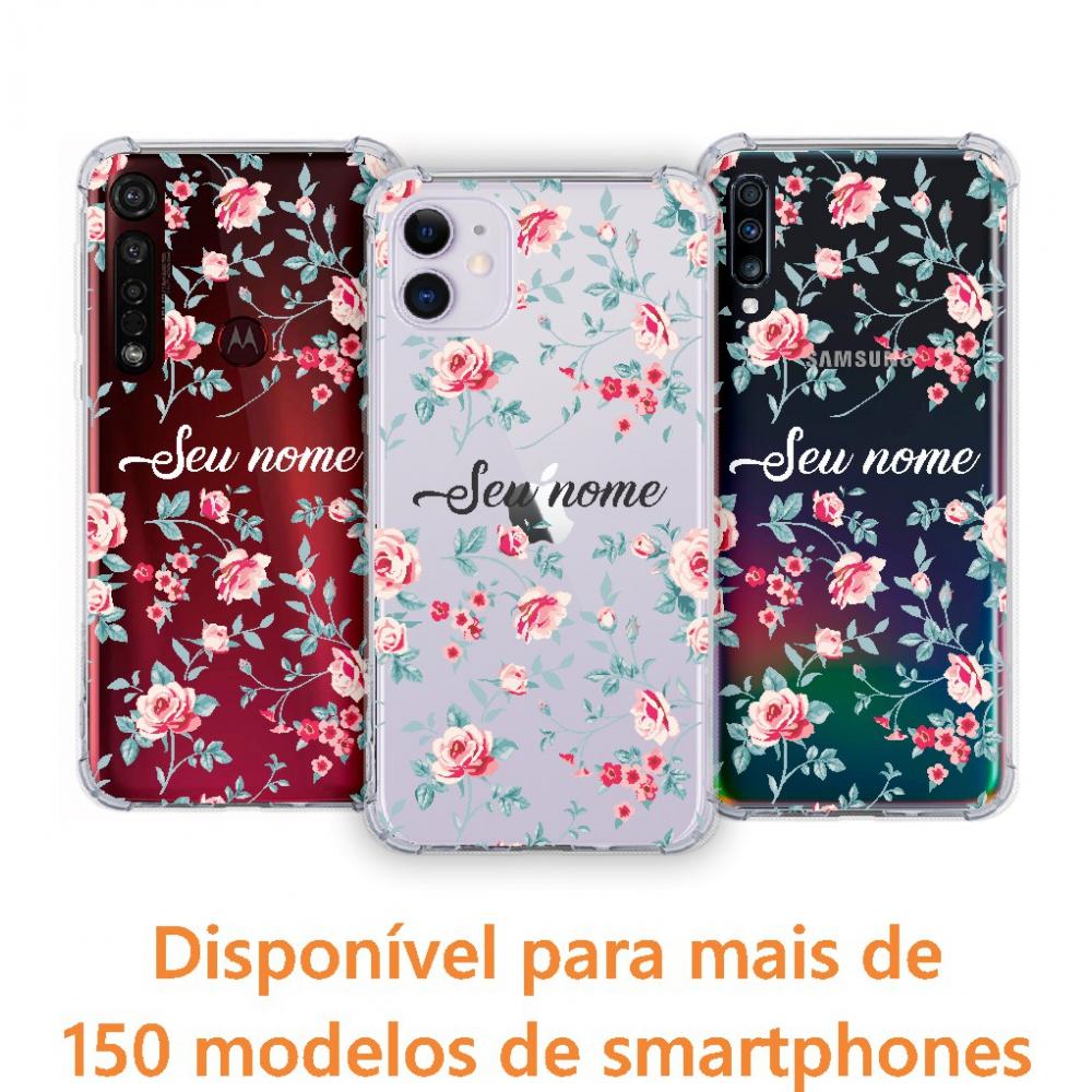 Capinha para celular - Personalizada com nome - Flores 02