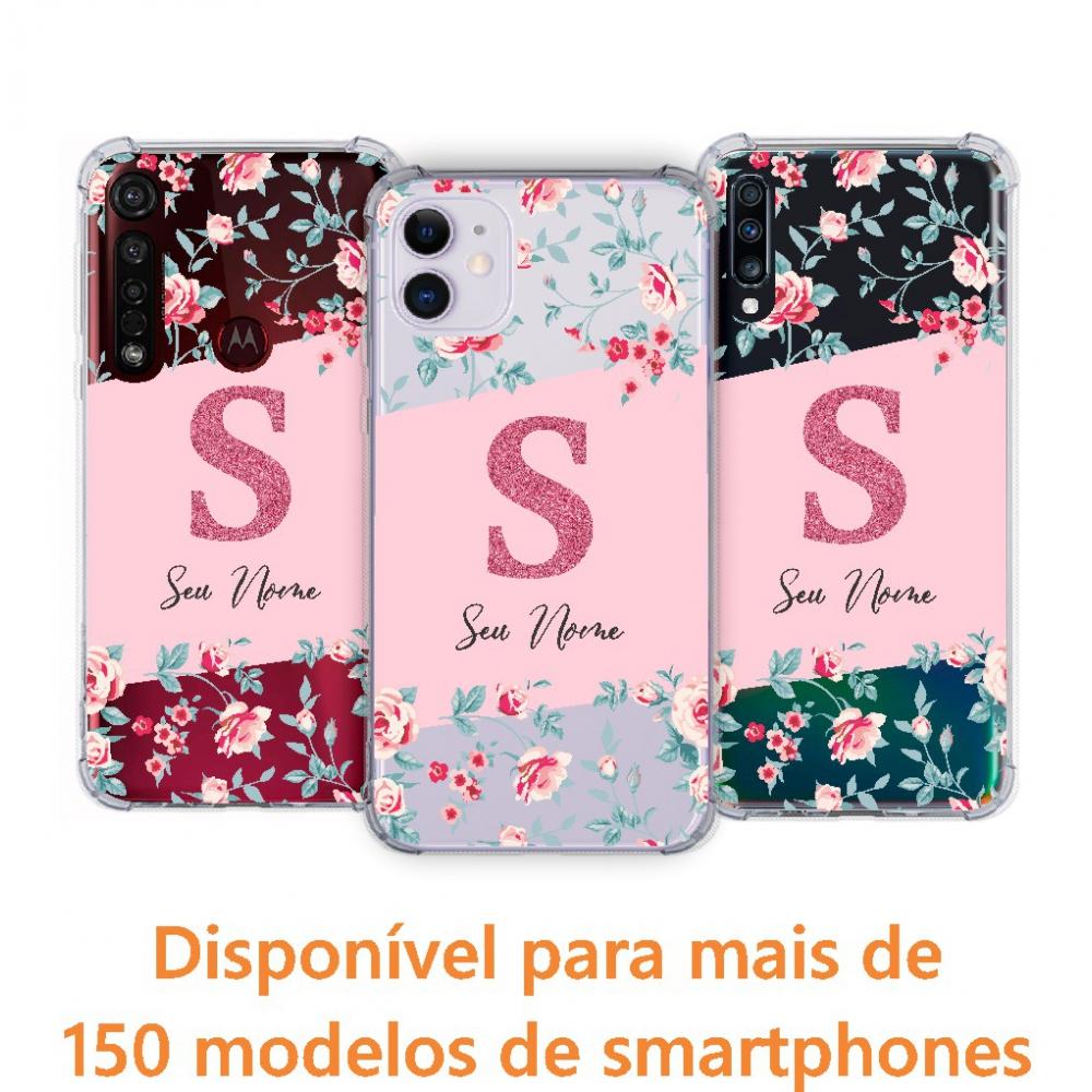 Capinha para celular - Personalizada com nome - Flores 07