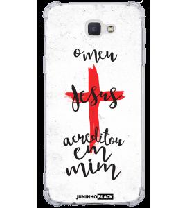 Capinha de celular - JUNINHO BLACK 04 - O MEU JESUS ACREDITOU EM MIM