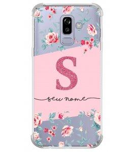 Capinha de celular - Personalizada com seu nome e letra inicial - Flores 02