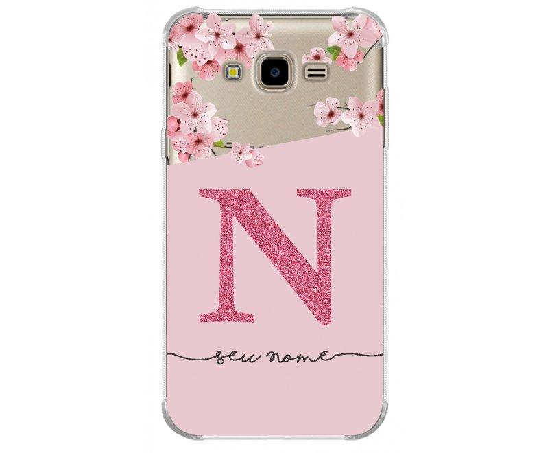 Capinha de celular - Personalizada com seu nome e letra inicial - Flores 08