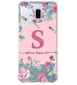 Capinha de celular - Personalizada com seu nome e letra inicial - Flores 05